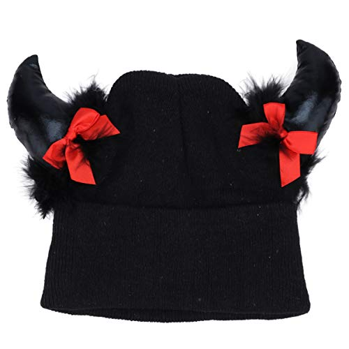 Amosfun - Gorro de punto para disfraz de vikingo, diseo de cuerno de diablo, color negro