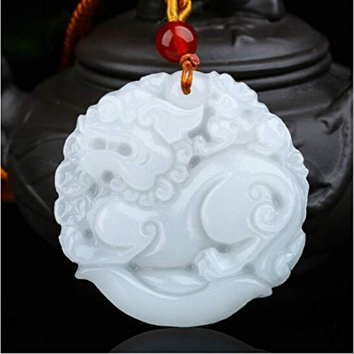 Natürliche Weiße Jade Schatz Pixiu Anhänger Jadeit Halskette Charm Schmuck Mode Accessoires Hand Geschnitzt Glück Amulett Geschenke