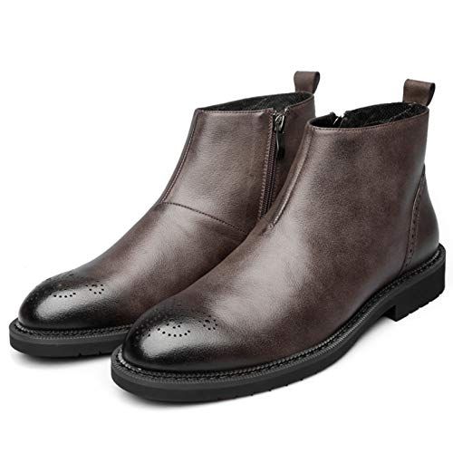 Chelsea Boots for Men Fashion Brogue Wear-Resistant Lightweight Autumn Winter Ankle Boots Zipper Retro Leather Boots for Daily Work Brown