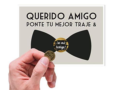 Tarjeta testigo boda hombre | Tarjeta rasca testigos novio amigos | Anuncio Boda