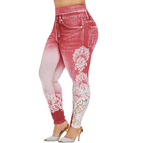 Yowablo Damen Sport Leggings Nahtlose Kompressions Sporthose Yoga Fitnesshose mit Hohe Taille für Workout Gym Jogging (3XL,1Rosa)