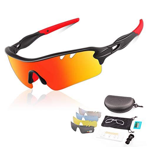DUDUKING Occhiali da Sole Ciclismo Sportivi per Uomo e Donna con 5 Lenti Colorati Anti-UV Antivento Aviatore Specchio per Ciclismo Guida Pesca Running Golf Bici Moto