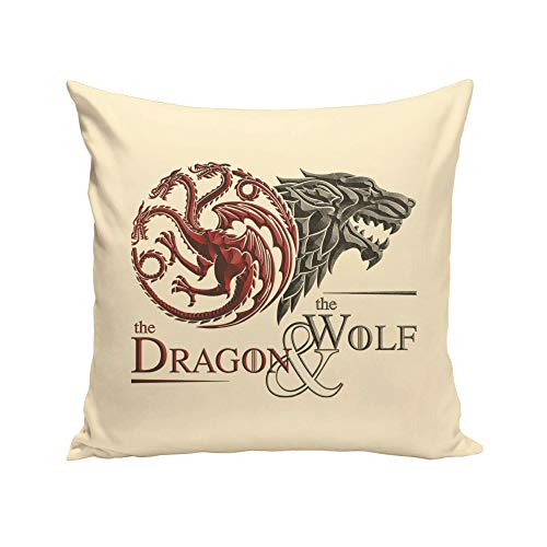 shirtdepartment - Game of Thrones - Kissen - Dragon and Wolf Wappen Natur-dunkelrot