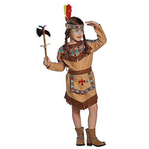 Kostüm Indianerin Baca Gr. 104- 152, Mädchen Indianer Kleid braun Kinderfasching (128)