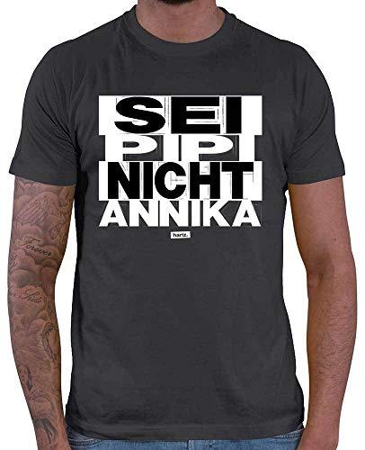 HARIZ Herren T-Shirt Sei PIPI Nicht Annika Sprüche Schwarz Weiß Inkl. Geschenk Karte Dunkel Grau M