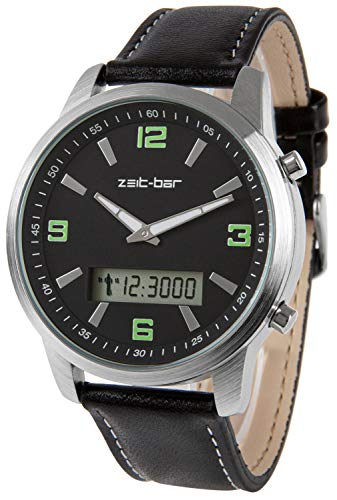 Zeit-Bar Funk-Armbanduhr mit Datums- und Wochentagsanzeige, Stoppuhr, Leuchtzeiger