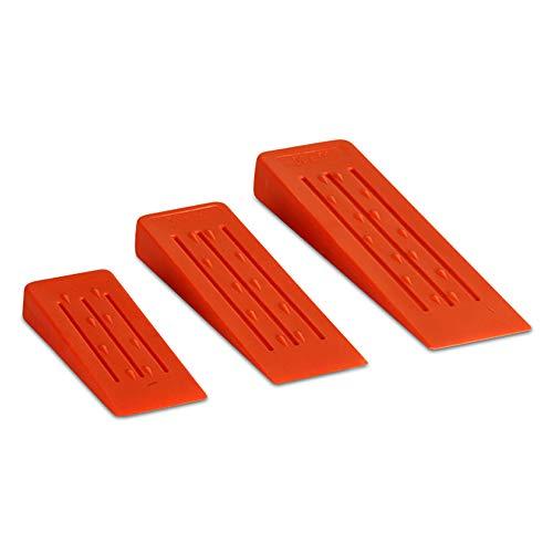 3 piezas (14 cm, 20 cm, 25 cm) Cuñas de tala de árboles para cortar árboles, madera, juego de cuñas de tronco para sierra de cadena, 3 cuñas de tala para árboles guía