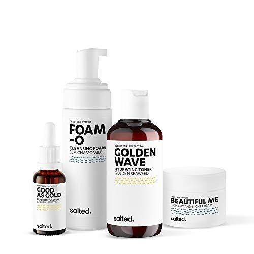 salted. Go For Gold Set | rutina de cuidado para pieles secas y exigentes | Cuidado facial rico | Hidratante | Vegano | Ingredientes naturales | Fabricado en Alemania