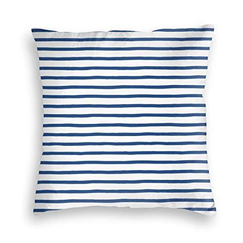 GULTMEE Decorative Cushion Cases Throw Pillow Covers,Horizontal Nautical Stripes Pattern Hand Drawn Marine Sea Illustration