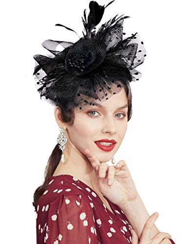 ArtiDeco Fascinators Hut Damen Cocktail Party Fascinator Haarreif Englische Tee Party Accessoires (Schwarz)