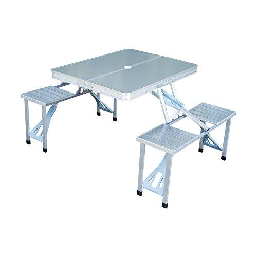 Outsunny Alu Campingtisch Klapptisch Picknicktisch Picknick-Koffer-Sitzgruppe Klapptisch-Gruppe mit 4 Sitzen Silber Alu + MDF 84,5 x 67,5 x 66,5 cm