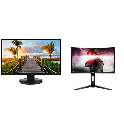 """Acer KB272HL bix 27"""" Full HD (1920 x 1080) Acer Vision Care VA Monitor with Flicker-Less,Black & AOC C24G1 24"""" Curved Frameless Gaming Monitor, FHD 1080p, 1500R VA Panel, 1ms 144Hz, FreeSync"""