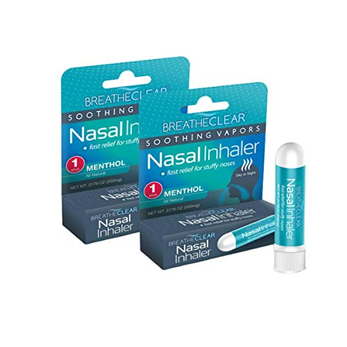 BreatheClear Aromatherapy Nasal Inhaler to Relieve Stuffy Nose, Congestion Relief, and Coughing, Pack of 2, Menthol Flavor VapoInhaler, 5 Essential Oils to Rejuvenate The Senses