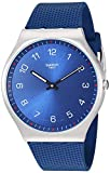 Swatch Skin Irony 42 Stainless Steel Quartz Rubber Strap, Blue, 20 Casual Watch (Model: SS07S102)
