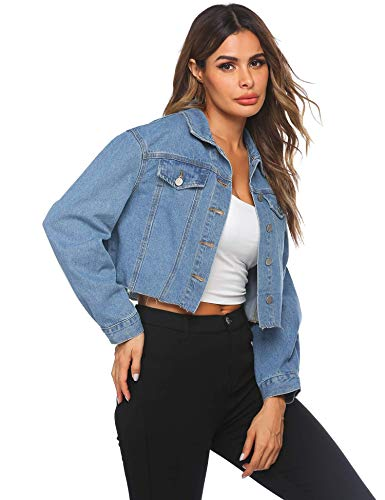 HOTLOOX Sexy Crop Top Denim Jackets for Women Long Sleeve Denim Short Coat Ladies Casual Button Jacket Jeans Light Blue S