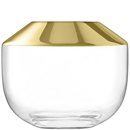 LSA International Space Vase 15 Gold, Klar verziert, 18,2 x 18,2 x 18,9 cm