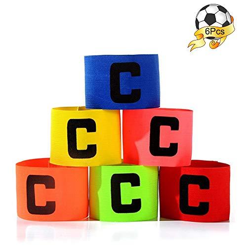 Seully 6 Piezas Brazalete de Capitán de Fútbol, Brazalete de Capitán Profesional Multicolor, Brazalete Elástico Estándar C para Niños y Adultos, Adecuado para Múltiples Deportes de Pelota