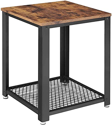 NFRMJMR Mesa de centro con estante de malla, marco de acero, montaje fácil, industrial, en sala de estar, dormitorio, rústico marrón hierro vintage