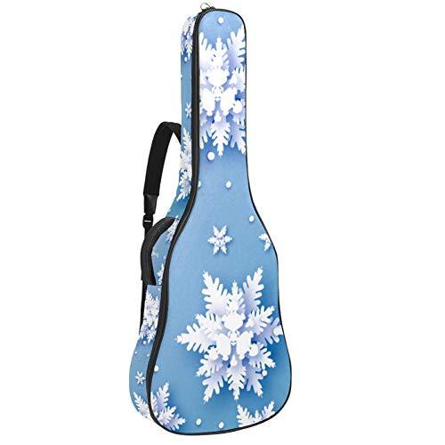 Gitarren-Gigbag, wasserdicht, Reißverschluss, weich, für Bassgitarre, Akustik- und klassische Folk-Gitarre, Origami, Schneefall