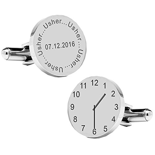 A4clo014-usher.. Moment spécial Cufflinks-personalised-mens-gift-engraved-wedding