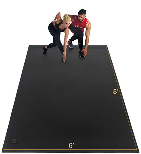 GXMMAT Extra Large Exercise Mat 6'x8'x7mm, Thick Workout Mats for Home Gym Flooring, High Density Non-Slip Durable Cardio Mat, Shoe Friendly, Great for Plyo, MMA, Jump Rope, Stretch, Fitness