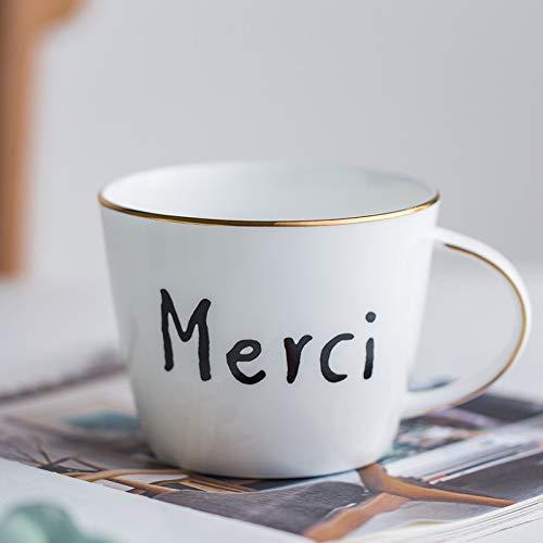 Winpavo Mugs Tasses Tasse À Café en Porcelaine Empilable Tasses À Café Blanches De 460 ML Tasses À Thé Verrerie Drinkware Cuisine Salle À Manger, C