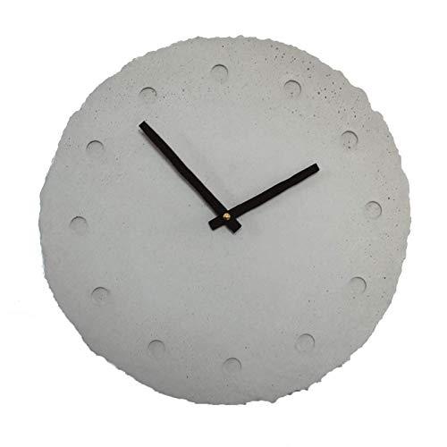 Beton-Wanduhr [rundundrau] | runde Betonuhr + leises Uhrwerk + Holz-Uhrzeiger | schöne Betondeko für Wohn, Küche & Büro