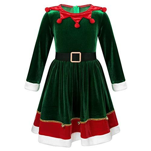 TiaoBug Disfraz Navidad de Elfa Duende Niñas de Fiesta Vestido Princesa Manga Larga Rayada Vestido Corto de Ceremonia Bautizo Niñas Verde 10-12 años