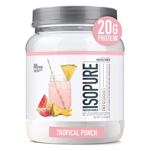 """Isopure Infusions, Refreshingly Light Fruit Flavored Whey Protein Isolate Powder, """"Shake Vigorously & Infuses in a Minute"""", Tropical Punch, 16 Servings (Packaging May Vary)"""