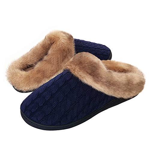 Damen Herren Hausschuhe Winter Memory Foam Pantoffeln Unisex Warm Plüsch und rutschfeste Indoor Bequem Slippers(Blau-K,36/37 EU)