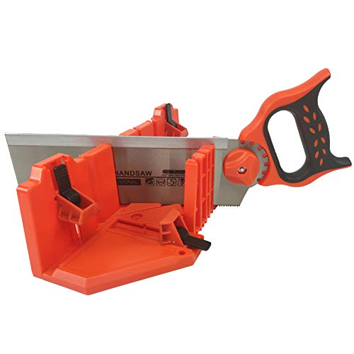 DUEBEL Miter Box Set with 12' Miter Saw Back Tenon Saw Rigid Saw for Left/Right 0° / 22.5° / 45° Cuts for Wood