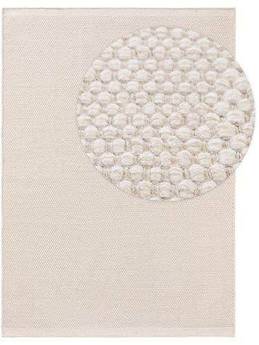 Benuta Wollteppich Rocco Weiß 70x140 cm Kurzflor Flachgewebe für Wohnzimmer, Schlafzimmer, Esszimmer oder Kinderzimmer