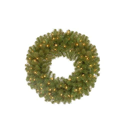 National Tree Company Pre-lit Artificial Christmas Wreath | Includes Pre-strung Multi-Color LED Lights | North Valley Spruce - 24 Inch