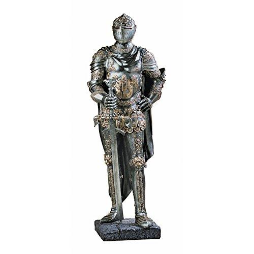 Design Toscano La guardia del Re Decorazione Medievale Statua gotica di cavaliere con armatura a mezza scala, poliresina, peltro, 99 cm