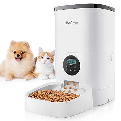 Balimo 4L Distributore Cibo Gatti e Cani Automatico con Timer e 10S Funzione di Registrazione del richiamo del padrone e Design Anti-Blocco Fino a 4 pasti al Giorno