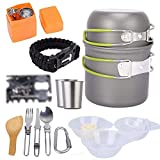 HIGHER MEN Utensilios de Cocina de Camping Mess Kit de Camping al Aire Libre Utensilios de Cocina Backpacking cocinando la Comida campestre Cuchara Cuenco Pan Pot Set 17pcs (Size : 17pcs)