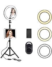 حلقة اضاءة لصور السيلفي بحجم 10 انش ومزودة بحامل ثلاثي الارجل بطول 210 سم وحامل للهاتف - حلقة اضاءة لاجهزة الايفون واندرويد، ستاند اضاءة للبث المباشر أو الماكياج وتصوير فيديوهات اليوتيوب (بطول 210 سم)