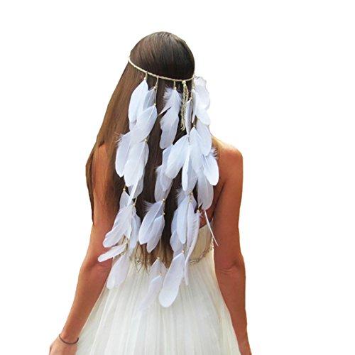 Boomly Diadema De Plumas Bohemia Para Boda Nupcial Borla Tocado Para Mujeres En La Fiesta De La Novia (Blanco)