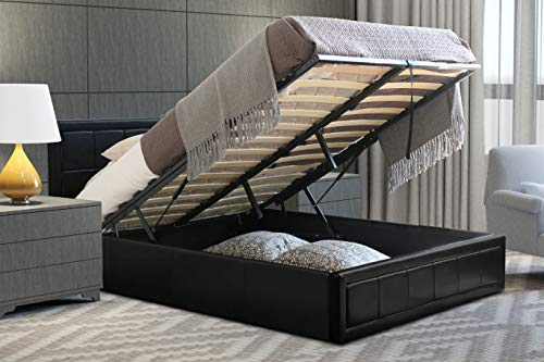Home Treats Ottoman Bed Frame Black Padded Frame With Gas Lift & Under Bed Storage (Small Double 4ft, No Mattress)