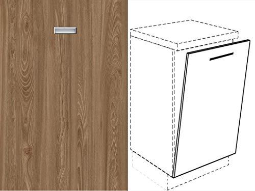 Premium-Ambiente FRT391 Unterschrank Front für Geschirrspüler eingelassener Handgriff FE (Breite 60cm-vollintegriert, 46 Ulme braun)