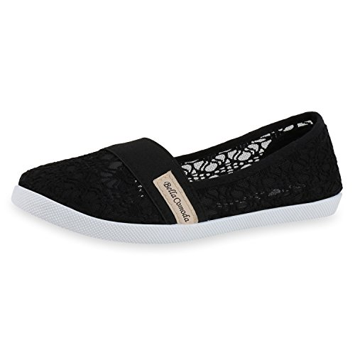 SCARPE VITA Sportliche Damen Ballerinas Slipper Spitze Stickereien Schuhe 160624 Schwarz Spitze Total 38