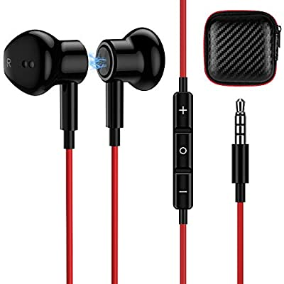 TITACUTE 3.5mm Earphones Headphones with Mic, Noise Cancelling Headphones in Ear Wired Earbuds Magnetic Stereo Bass Sports Earphone Compatible with Samsung S10 A21s A51 Google Pixel 4a iPhone 6S from TITACUTE