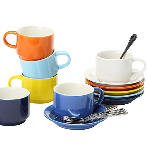 JULKYA STACKABLE MULTICOLORED ESPRESSO CUPS SET OF 6 –WITH SAUCERS AND SPOONS BONUS STAND LIGHTWEIGHT REUSABLE DRINKING MUGS FOR COFFEE LATTE CAPPUCCINO CAFÉ MOCHA OR TEA 4 OZ PORCELAIN DEMITASSE