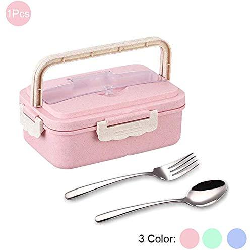 Gby Lunch Box Für Kinder Erwachsene, 1L 3 Compartment Weizenfaser Öko Lunch Boxes Leakproof, Mikrowelle Und Spülmaschinenfest, Edelstahl-Gabel & Löffel Inklusive,Blau