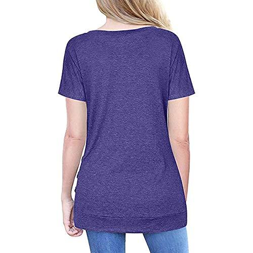RONGYP Camisa básica de un solo color para mujer, camiseta de manga corta cómoda. morado XL