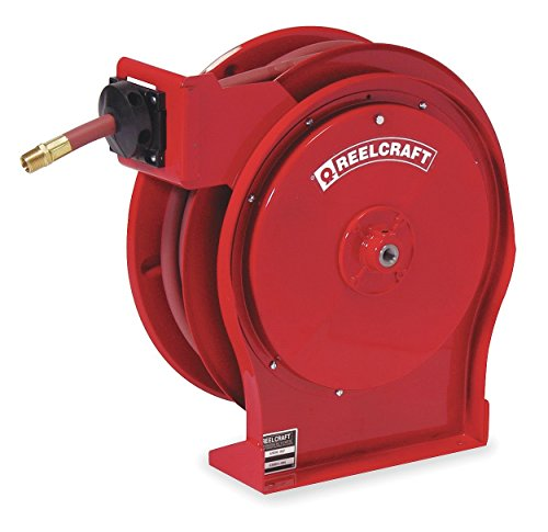 """Reelcraft 5650 OLP Premium Duty Spring Retractable Hose Reel, 3/8"""" x 50', 300 Psi, Air/Water Hose Included"""