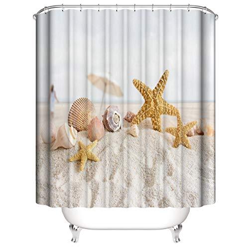 LLLTONG Duschvorhang Mehltau Kirschblüte Kirsche Duschvorhang, waschbarer dekorativer Duschvorhang, wasserdichtes Badewannenzubehör Strand Seestern