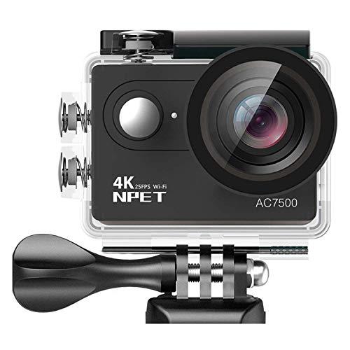 NPET AC7500 4K WiFi Camera Sport 12MP 170 ° Grandangolo Ultra HD 2 pollici LCD APP Controllo Action Camera impermeabile 2 Batteria telecomando 16 Kit Accessorio Custodia Nero