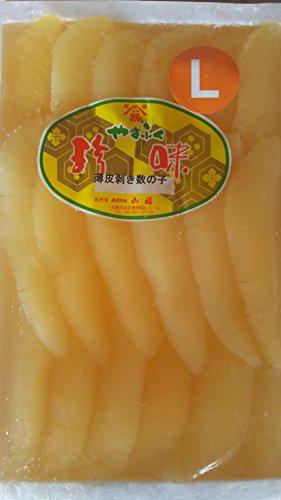 品質良好 薄皮ムキ 塩数の子 ( L ) 500g ( 約20本 ) 塩抜きしてお好みの味付けでお召し上がり頂けます。 かずの子