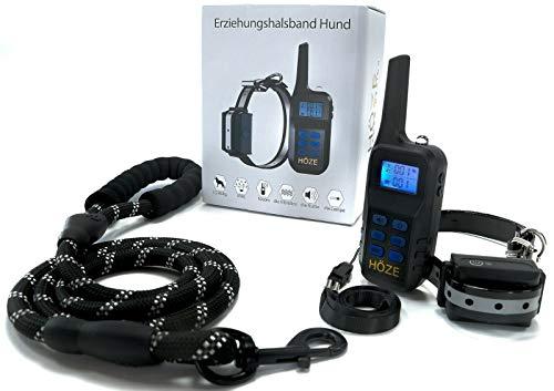 Höze - Halsband Hund, Hunde Halsbänder mit Hundeleine, Dog Leash, Training Pulse with Vibration, Pain-Free, Helps for Strong Dog Barking